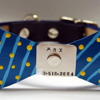 Bow Tie Leather dog Collar no more jingle jangle by PoochyCouture
