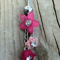 Pink Flowers Dangle Belly Button Ring