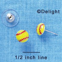 F1193 tlf - Mini Enamel Softball - Post Earrings (1 Pair)