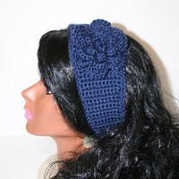 Navy Blue Crocheted Blue Button Headband Navy Blue Flower Ear Warmer