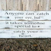 Wooden Sign - Romantic Valentines Day Phrase Distressed Wall Décor in White and Light Gray
