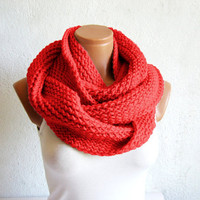 Valentines Day Sale  beautiful redKnit infinity by WomanStyleShop