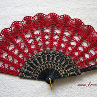 valentines RED hand fan or any colour you want for by kroowka