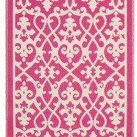 Fab Habitat 4-Feet by 6-Feet Venice Indoor/Outdoor Rug, Cream and Pink