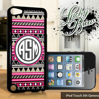 NEW iPod Touch 5 Case - Pink Aztec Tribal Design Monogram - 5 Gen Cover GEN5C