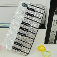 Iphone 4 Case - New Luxury Handmade Lovely Piano Bling Rhinestones Crystal Pearl Hard Back Transparent Case Cover For Apple iPhone 4 4S