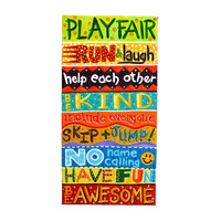 Wall Art for Kids, PLAYROOM RULES, 10x30 canvas, Art for kids rooms and playrooms