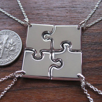 Four Miniature Corner Puzzle, Silver Pendant Necklaces