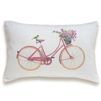 Bicycle Pillow Cover 12x18 inch White Cotton PRINT DESIGN 32