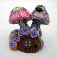 Glow in the dark mushroom house, millefiori fairy house, miniature woodland scene