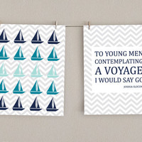 Boy Nursery Art Print Set - Nautical Decor Sailboat and Quote - Navy Blue, Teal, Aqua & Gray, 8x10 (2)