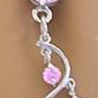 Pretty Pink 4 Gem Unique Vine Dangle Belly button Navel Ring 14 gauge