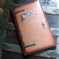 Painted Leather Folder Muse DistressedUpcycled by RomantiquePunk