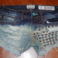 Custom Made distressed bleached studded shorts size 1 S