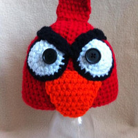 the upset robin  mad bird hat done in red by HookinItbyBellaBeanz