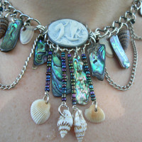 mermaid abalone necklace  mermaid cameo abalone seashells resort wear cruise wear beach wear high fashion gypsy boho