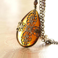 Amber Necklace Golden Amber Crystal Necklace Orange Honey Amber Crystal Pendant Necklace Antique Brass