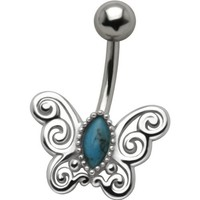 Tribal Butterfly .925 Sterling Silver Belly Button Piercing Navel Ring