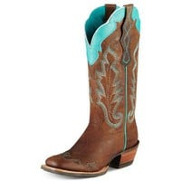 Ariat Western Boots Womens Cowboy Caballera Weathered Brown 10007852