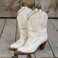 Vintage Champagne Cowboy Boots, Sweet Vintage Cowboy Boots