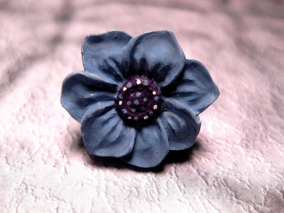Large Blue Flower Polka Dot Adjustable Ring by FashionCrashJewelry