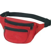 Fantasybag 3-Zipper Fanny Pack, Adjustable polyweb waist belt-Red, FN-03