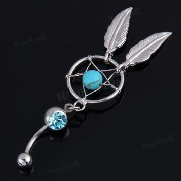 Crystal Gem Dream Catcher Dangle Belly Navel Barbell Button Bar Ring