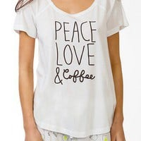 Peace Love &amp; Coffee PJ Set | FOREVER 21 - 2021839394
