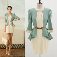 New Womens Korean Fashion OL half Sleeve Two-piece chiffon Shirt + Dress