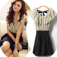 Fashion Japan Korean Women Summer Fashion Short-sleeve Dot Polka Dress Top O