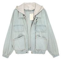 Faded Light Blue Denim Jackets with Hood