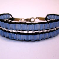 Frosted Blue Cube & Silver Lined Clear Bracelet by DevonVivian