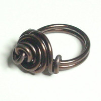 Brown Rose Love Knot Aluminum Wire Wrapped Ring