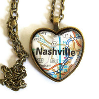 Nashville Map Necklace, Tennessee, Heart Pendant with Chain