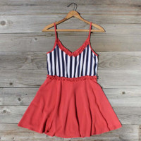 Awning Stripe Dress in Red, Sweet Women's Country Clothing