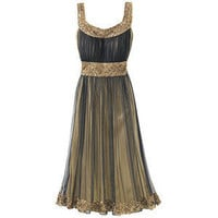 Misses Beaded Sleeveless Party Dress - Black - Polyvore