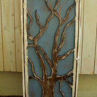 Handmade Cabinet Oak Tree Door Storage Shelves by honeystreasures