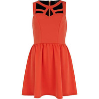 Red Cut Out Sleeve Skater Dress