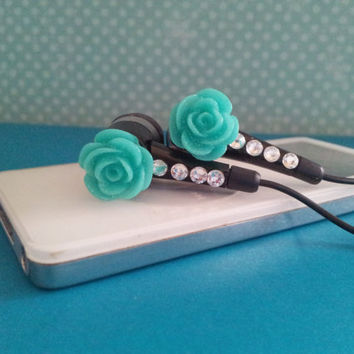 Teal Rose Flower With a Dusting of Glitter on Black earbuds with Swarovski crystals