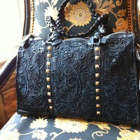 Black, Leather and Lace Handbag