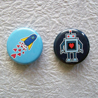 Geeky Love 125 Fridge Magnet Set of 2 Designs by sacari on Etsy