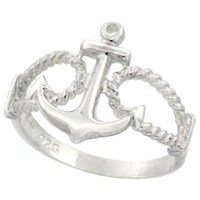 Sterling Silver Anchor Ring 9/16 inch (14 mm) long, sizes 4.5 - 10.5: Jewelry: Amazon.com