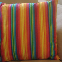 Pillow Cover Vibrant Rainbow Stripes 14 X 14 by TheGoodOleDays