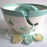 Yarn bowl mint green Ceramic Yarn holder by DarriellesClayArt