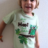Earth Day shirt Owl personalized girls and by sweet3leafprints