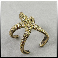 Copper Color European Fashion Exquisite Vintage Starfish Shape Ring Rings 0122D