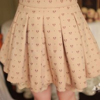 [Free Shipping]Bow-Print Pleated Skirt MA1006