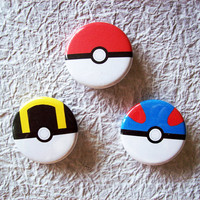 Poke Ball Great Ball Ultra Ball Set of 3 Pinback by sacari