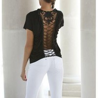 DRAPED CROCHET BACK TOP | Body Central