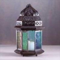 Large Moroccan Candle Lantern with Colored Glass - Aspen Country Store